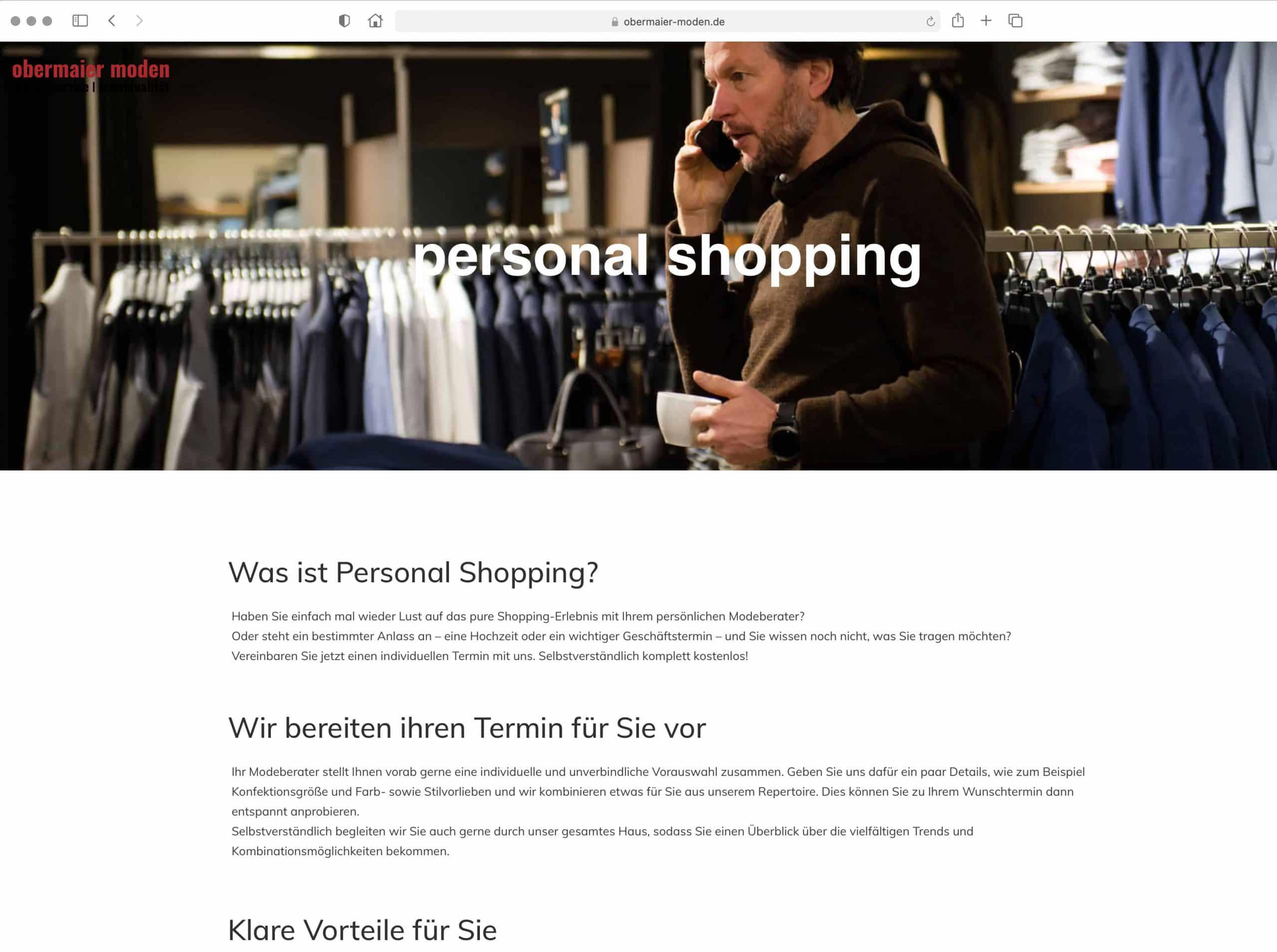 2G Media & Marketing Webdesign Werbung Homepage Obermaier Moden Modehaus Landkreis Ebersberg